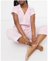 Lauren by Ralph Lauren Розовая Пижама В Полоску С Брюками Капри И Рубашкой С Лацканами -розовый Цвет