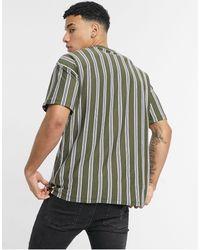 New Look - Oversized-футболка Цвета Хаки В Вертикальную Полоску -зеленый Цвет - Lyst