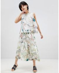 Paisie   Floral Culottes With Elasticated Waist   Lyst