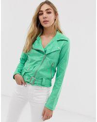 Glamorous Байкерская Куртка Из Искусственной Замши - Зеленый