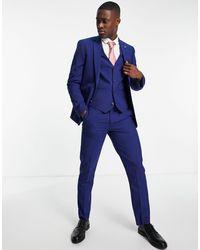 Original Penguin Pantaloni slim da abito a tinta unita - Blu
