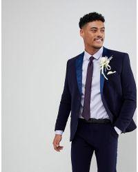 Boohoo - Skinny Fit Suit Jacket With Velvet Lapel In Navy - Lyst