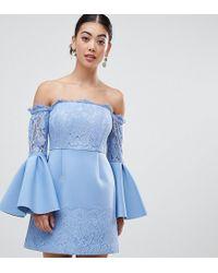 ccf4435717c ASOS - Asos Design Petite Fluted Sleeve Bardot With Lace Trim Mini Dress -  Lyst