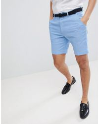 DESIGN Slim Mid Length Smart Shorts In Pale Blue - Pale blue Asos Store Sale aqYPv0O1c2
