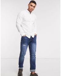 Jack & Jones – Essentials – Schmal geschnittenes Hemd aus Leinen-Mix - Weiß