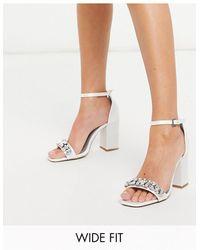 London Rebel Wide Fit Embellished Bridal Block Heel Sandal - White
