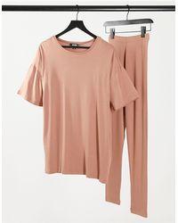 Missguided Ensemble t-shirt et legging - Camel - Multicolore