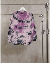 ASOS T-shirt ultra oversize délavé à manches longues - Rose
