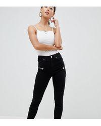 ASOS Asos Design Petite Ridley High Waist Skinny Jeans In Black With Biker Zip Detail