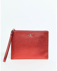 Calvin Klein Кошелек С Ремешком На Запястье -красный