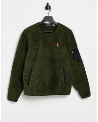 Polo Ralph Lauren – Sweatshirt aus flauschigem Teddystoff mit Polospieler-Logo - Grün