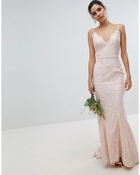 Chi Chi London - Bridal Premium Lace Maxi Dress With Fishtail In White - Lyst