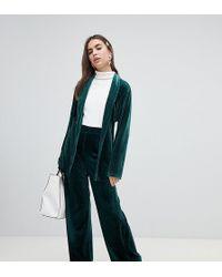Monki Velvet Wide Leg Trousers In Green
