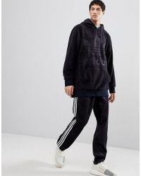 adidas Originals - Adicolor Velour Hoodie In Oversized Fit In Black Cy3549 - Lyst
