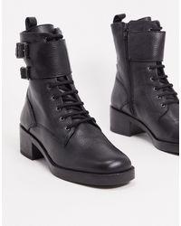 ALDO Черные Кожаные Ботинки В Стиле Милитари С Пряжками -черный Цвет