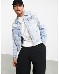 Liquor N Poker – Oversize-Jeansjacke mit durchgehendem Wassermuster - Blau