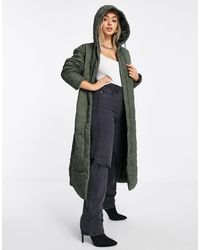 Missguided Diamond Quilted Hooded Coat - Green