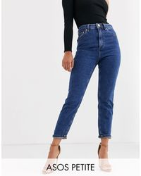 ASOS Asos Design Petite Recycled Farleigh High Waisted Slim Mom Jeans - Blue