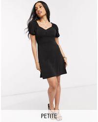 Y.A.S Petite Monja Puff Sleeve Midi Dress - Black
