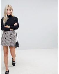 ASOS - Double Breasted Mini Skirt In Check With Buttons - Lyst