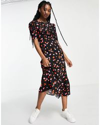 New Look Ruched Sleeve Tiered Midi Dress - Black