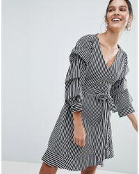 Vila - Stripe Mini Wrap Dress - Lyst
