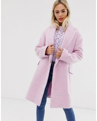 ASOS Double Breasted Brushed Coat - Blue