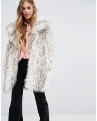 Glamorous Shawl Collar Coat In Snow Leopard Faux Fur - Natural