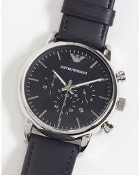 Emporio Armani Часы С Черным Кожаным Ремешком Ar1828 Luigi-черный Цвет