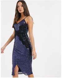 Little Mistress Sequin Lace Trim Bodycon Dress - Blue