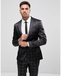 ASOS Asos Super Skinny Suit Jacket In Printed Slogan Check - Black