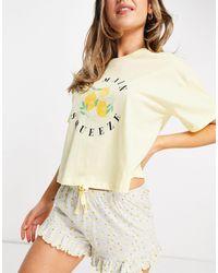 New Look Желтый Пижамный Комплект С Лимонным Принтом