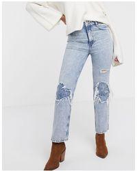 Free People – My Own Lane – Bootcut-Jeans mit Zierrissen am Knie - Blau