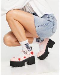 LAMODA Розовые Лаковые Массивные Туфли С Красными Сердечками И Каблуками -розовый Цвет