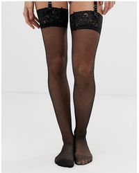 Ann Summers Bas glossy autofixants avec partie haute en dentelle - Noir