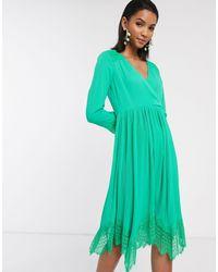 Liquorish Зеленое Платье С Запахом, Плиссированной Юбкой И Кружевом -зеленый
