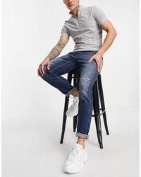 Hollister Skinny Fit Slash Distress Repair Jeans - Blue