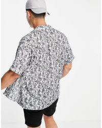 Jack & Jones Рубашка С Коротким Рукавом, Отложным Воротником И Черным Принтом Пейсли Originals-белый