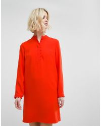 Whistles - Scalloped Collar Crepe Dress - Lyst
