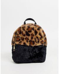 Chateau Faux Leopard Fur Mini Backpack - Brown