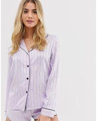 Hunkemöller Amour Satin Stripe Pyjama Top - Purple