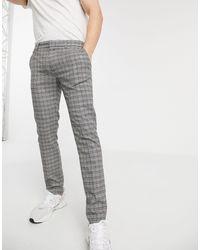 River Island Super Skinny Checked Pants - Gray