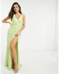 Forever Unique - Лаймовое Платье Металлик С Запахом -зеленый - Lyst