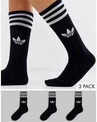 adidas Originals 3 Пары Черных Носков С Логотипом-трилистником -черный