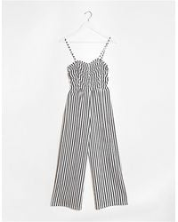 Bershka Ruched Front Striped Jumpsuit - Multicolour