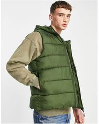 ASOS Puffer Gilet With Hood - Green