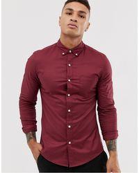 TOPMAN Бордовая Оксфордская Рубашка -красный