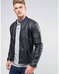 French Connection Biker Padded Leather Look Jacket - Black