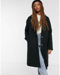 Pieces Черное Пальто Из Смесовой Шерсти Alice-черный