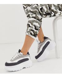 NA-KD - Chunky Trainers With Colour Block Detail In White - Lyst